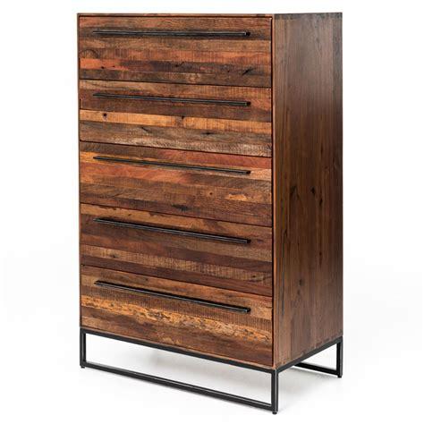 alexa reclaimed wood 5 drawer dresser brogan modern classic reclaimed wood iron five drawer dresser