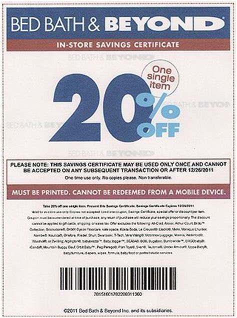 bed bath and beyond coupon on phone bed bath and beyond offers coupon codes for online purchases or printable 20 off