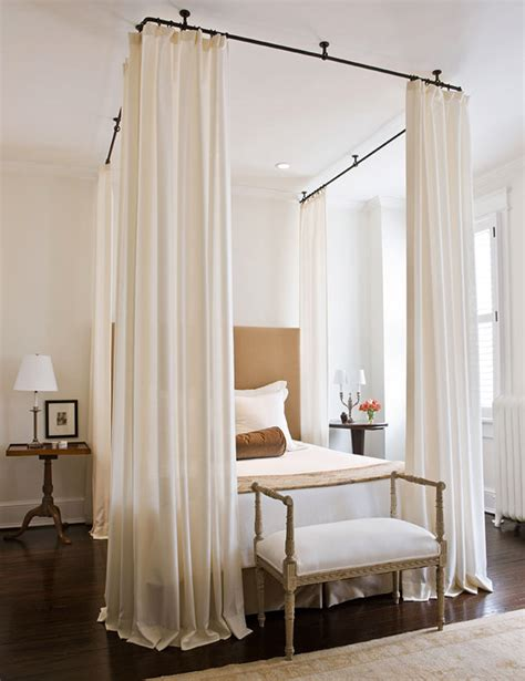 make a bed canopy with curtain rods dramatic bed canopies and draperies traditional home