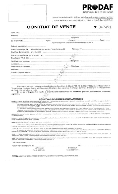 Contrat vente chiens (Modèle)