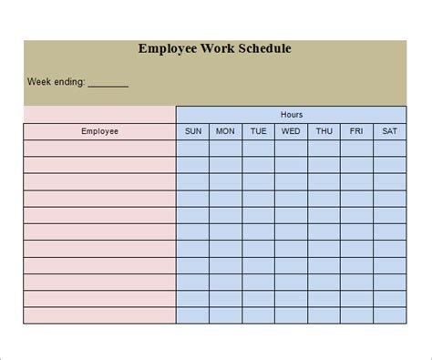 sle of work schedule template work schedule template 20 free documents in