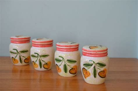 vintage ceramic canister jam jar strawberry kitchen