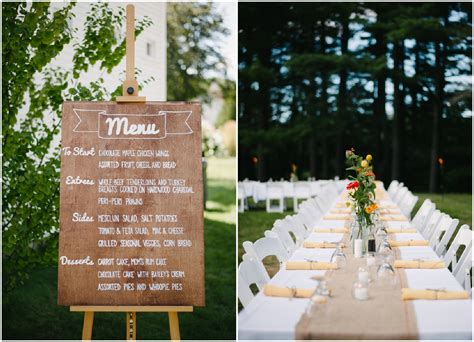 backyard menu new hshire barn wedding rustic wedding chic