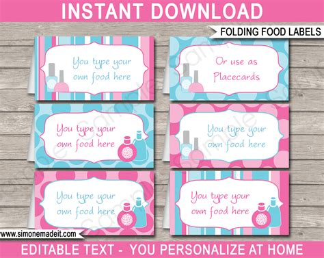 free template food cards spa food labels place cards spa theme