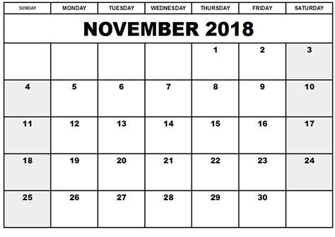 best calendar template printable november 2018 calendar template best business