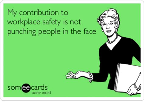 Workplace Memes - my contribution to workplace safety is not punching people