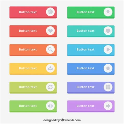 colored text buttons vector free
