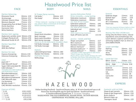 beauty price list hazelwood beauty salon sutton benger the old farmhouse