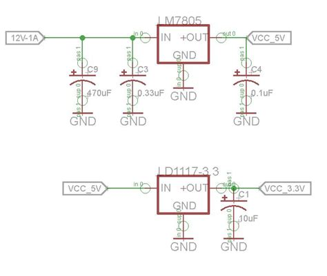 12v input capacitor power lm7805 followed by ld1117 3 3 electrical engineering stack exchange