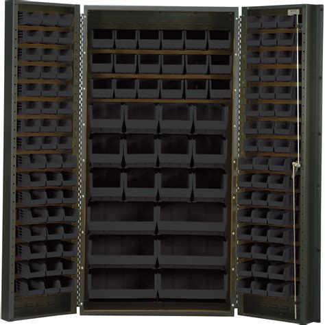 Quantum Storage Cabinet Quantum Storage Cabinet With 132 Bins 36in X 24in X 72in Size Black Northern Tool