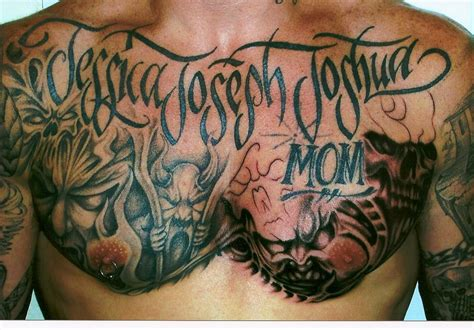 evil tattoo designs for men spicy designs new trend of chest tattoos for