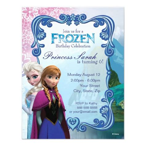 frozen templates for invitations frozen birthday invitation zazzle