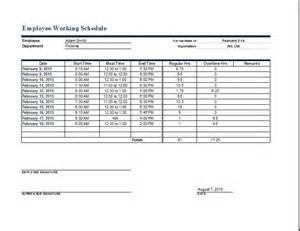 Department Schedule Template by Employee Work Schedule Format Word Excel Templates