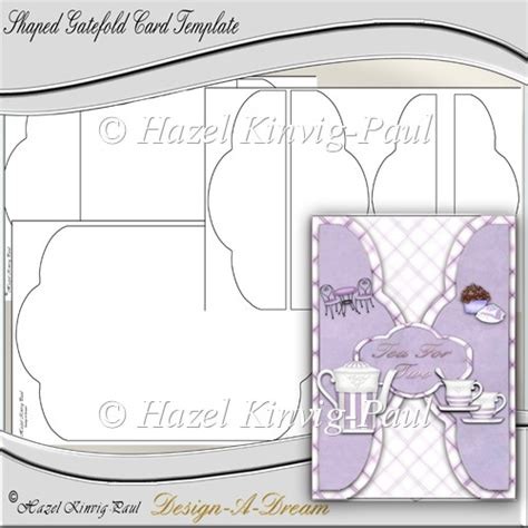 Template For Gatefold Card by Shaped Gatefold Card Template 163 3 50 Instant Card