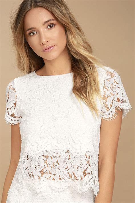 Top Lace Crop white top lace crop top lace top scalloped top