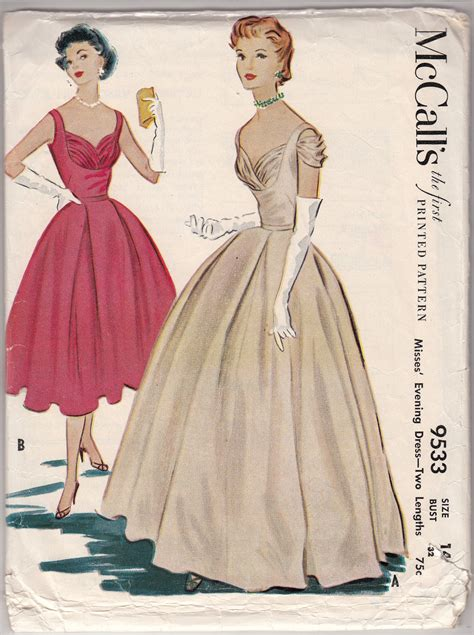 dress pattern evening wear vintage sewing pattern 1950 s evening dress mccall s