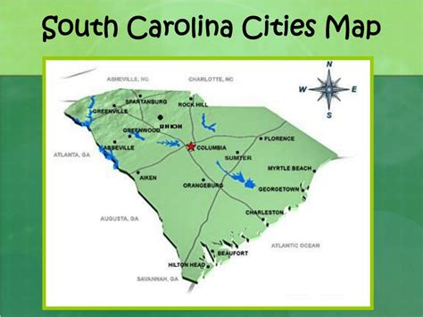 carolina cities map ppt south carolina landform regions and facts about landforms powerpoint presentation id 2142