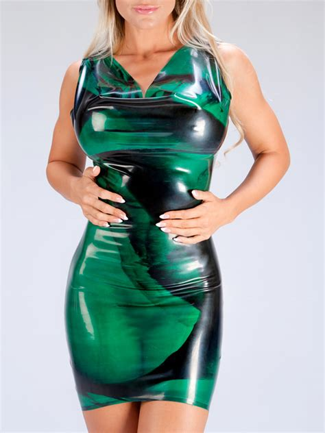pattern latex dress dr 175m marbled cowl neck polymorphe