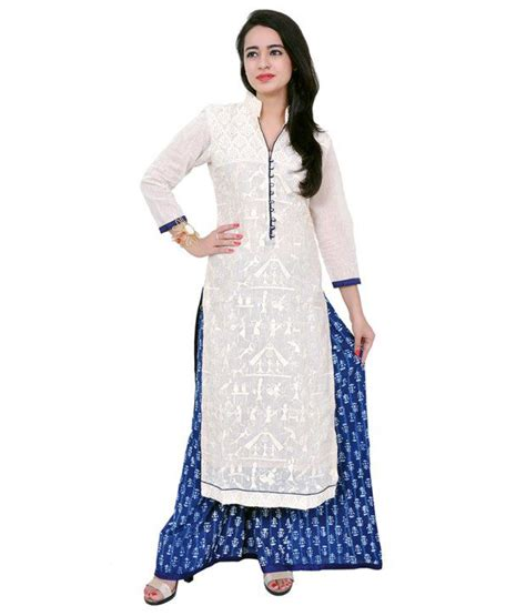 girls dess plazo dess photo trendmania white khadi with plazo semi stiched dress