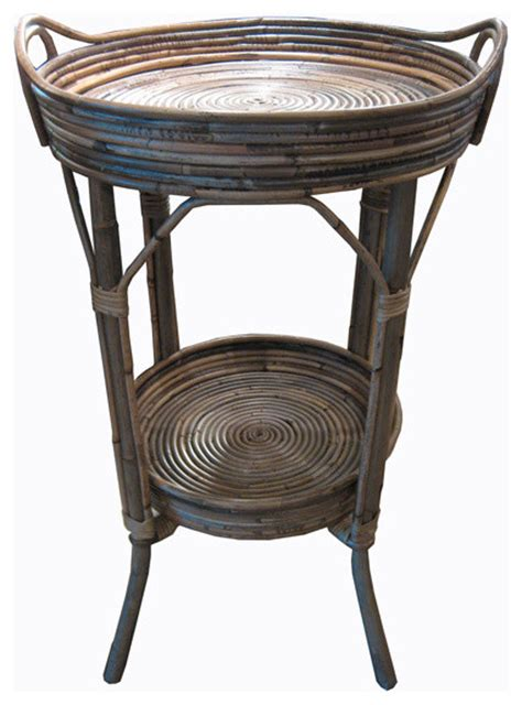Tropical Accent Tables | woven rattan side table with round tray tropical side