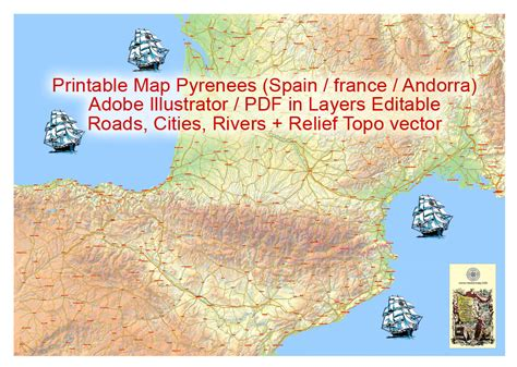printable area illustrator printable map pyrenees area relief roads waterways