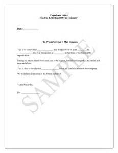 template of experience certificate work experience letter format from company cover letter