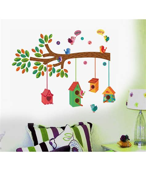 colorful nursery stickerskart nursery colourful bird house on a branch wall