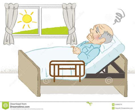 bed written bedridden senior men stock vector image 54895079