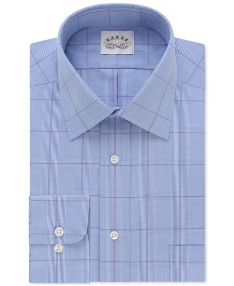 Grid Pattern Shirt | eagle men s classic fit non iron ocean mist grid pattern