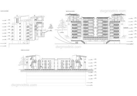 Free Apartment Plans Cad Files Apartment Building Facades Dwg Free Cad Blocks