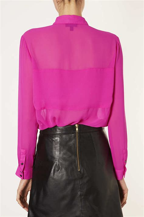 Sleeve Panel Shirt lyst topshop sleeve panel shirt in pink