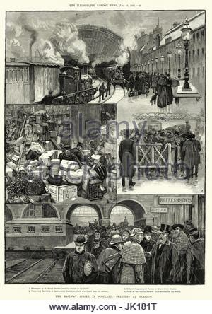 1890s 19th century train travel in america engraving of