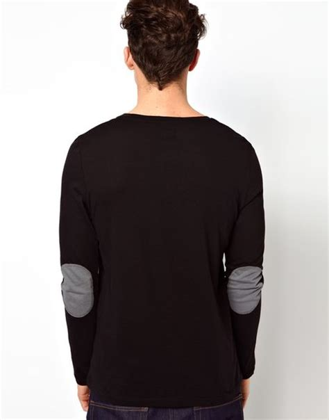 Longsleeve Dgrey Leather Patch asos sleeve t shirt with contrast patches in gray for blackgrey lyst
