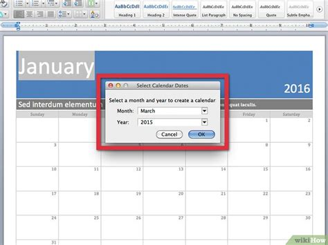 make calendar in word een kalender maken in word wikihow
