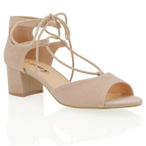 peep toe sandals low heel womens low heel block ghillie lace up strappy peep
