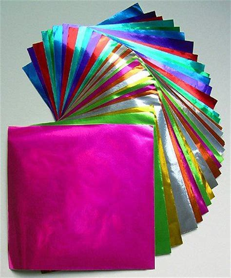 Foil Paper Crafts - large origami color foil paper craft from