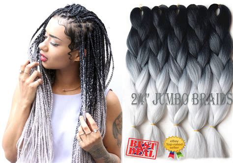 kanekolan hair black white grey 5 bundles black light grey ombre dip dye kanekalon