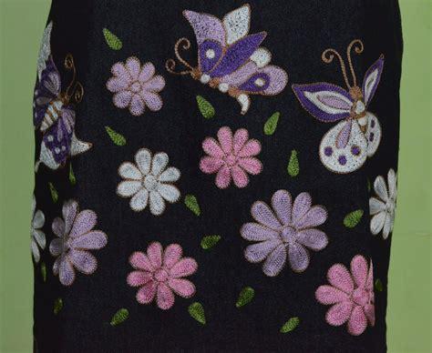 Rok Denim Motif Bordir 6 jual rok bordir motif bunga kupu shantiqueshop