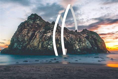 wallpaper rocks beach geometric sunset  photography