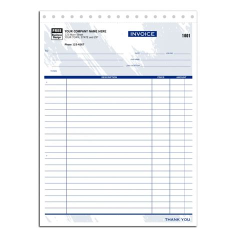 printable job invoice carbonless job invoices 6544 at print ez