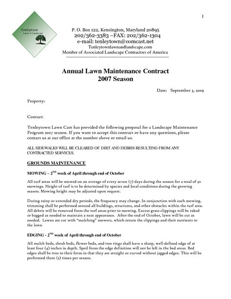 lawn care bid forms contract template awesome gallery mesmerizing