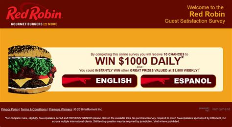 Red Robin Sweepstakes - www redrobinfeedback com red robin guest satisfaction survey