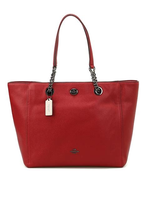 Coach Chain coach chain and leather handle tote totes bags