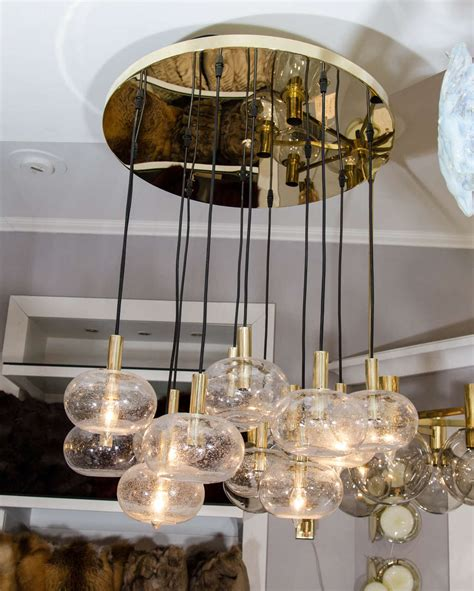 Custom Twelve Globe Chandelier With Brass Canopy For Sale Canopy Chandelier