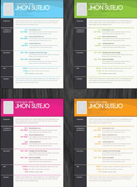 cv template word bg one page resume template with background pattern in four