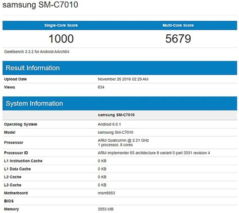 pro c 7 with net and net books samsung galaxy c7 pro shows up on geekbench