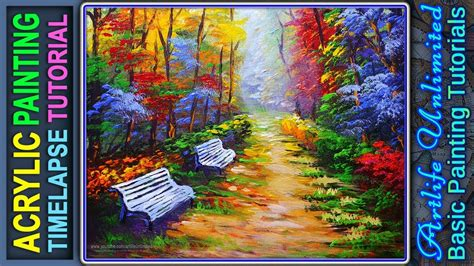 acrylic painting forest tutorial basic acrylic painting tutorial landscape with autumn