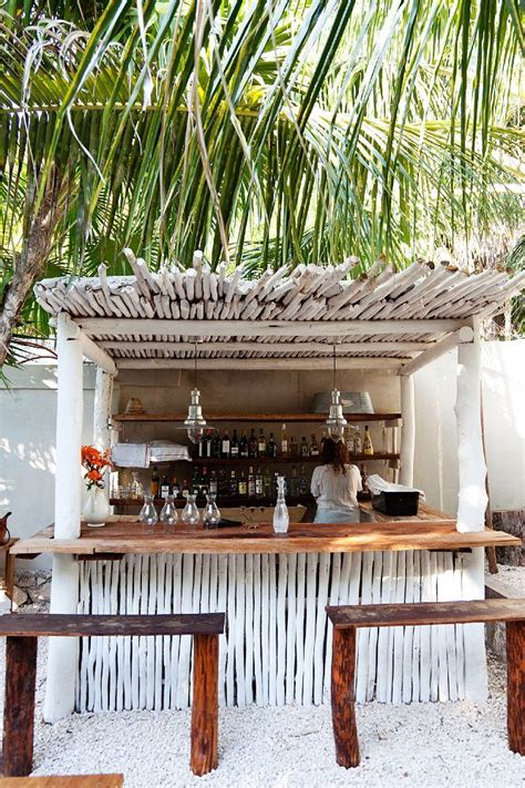 tiki bar benches backyard pinterest