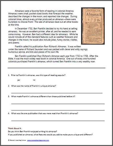 benjamin franklin biography 2nd grade benjamin franklin worksheet packet mamas learning corner
