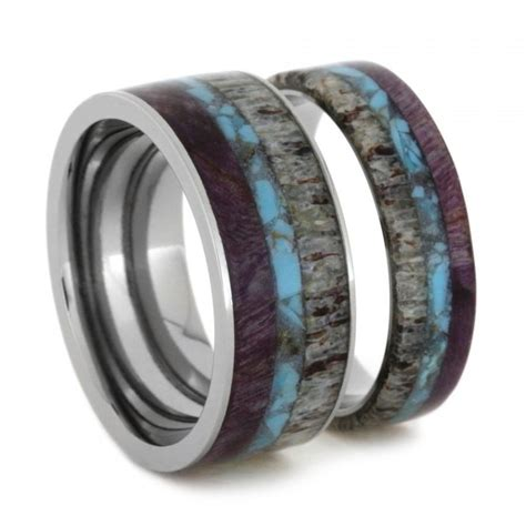unique ring set titanium wedding bands set with turquoise